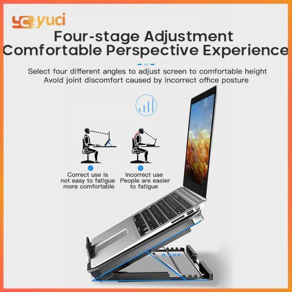 Yuci [On Sale] Adjustable Laptop Cooling Stand Double Fans Laptop Radiator Ice-sealed Air-cooled Lifting Stand Holder Notebook Dual USB Bracket Cooler