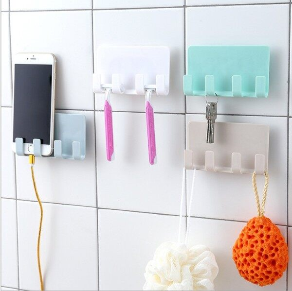 Practical Universal No Punching Wall Mounted Mobile Phone Holder Wall Mount Holder Adhesive Stand Portable Hook Holder Hanging