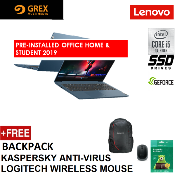 LENOVO IDEAPAD 5 15IIL05 81YK00P4MJ / 81YK00P5MJ (I5-1035G1,8GB,512GB SSD,15.6 FHD,MX350 2GB,WIN10) FREE BACKPACK + LOGITECH WIRELESS MOUSE + KSPSKY ANTI-VIRUS + PRE-INSTALLED OFFICE H&S 2019 (IP5 IP5-15IIL 5-15IIL05 IP5-15IIL05 S540) Malaysia