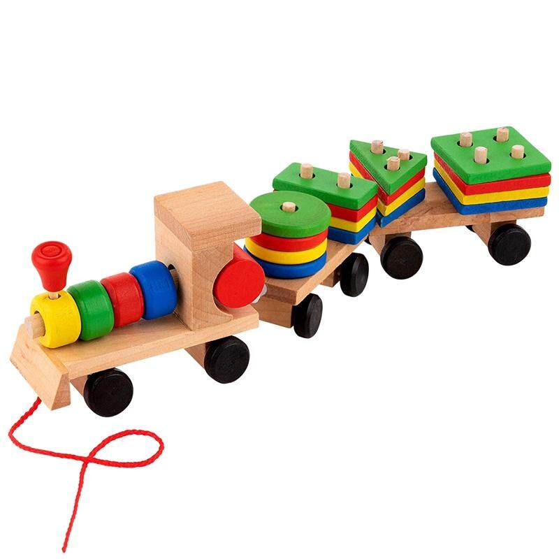 Mua 15.5 Inches Wooden Stacking Toys Train with Shape Sorter and Stacking Blocks, Toddlers Toys, Pull Toys for Toddlers