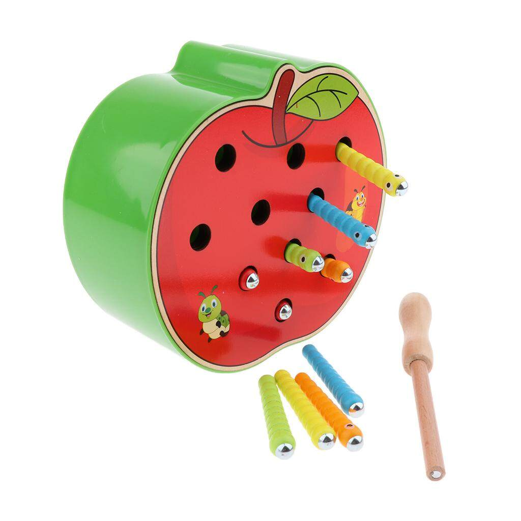 Perfk Wooden Apple Board Magnet Bug Catching Game Toy Kit for Toddlers