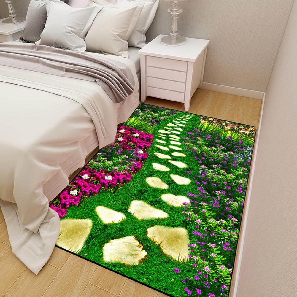 SS 3D Flowers Plants Printing Carpet Anti-Slip Rug for Kids Bedside Living Room Decor