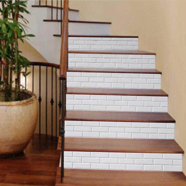 [KA Huse]6pcs 3D Wallpaper Staircase Stickers White Background Home Decoration