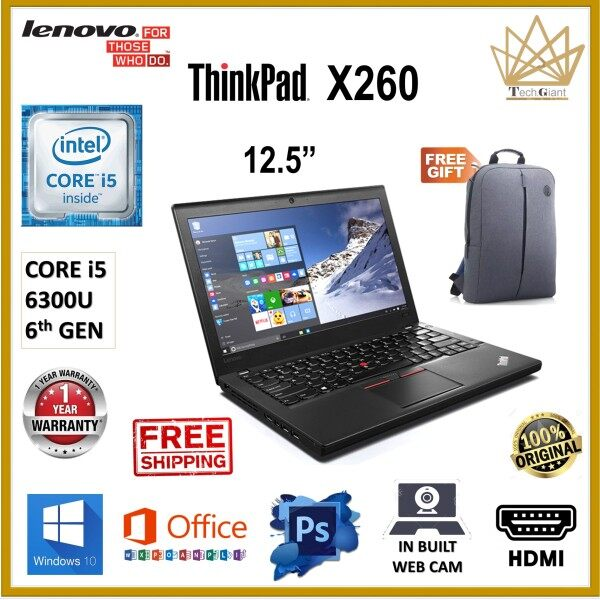 (SLIM) LENOVO THINKPAD X260 CORE i5 [6TH GEN] / 12.5 HD / Up to 16GB DDR4 / 1TB SSD / WINDOWS 10 PRO / ULTRA SLIM LENOVO BUSINESS LAPTOP / HDMI / REFURBISHED Malaysia