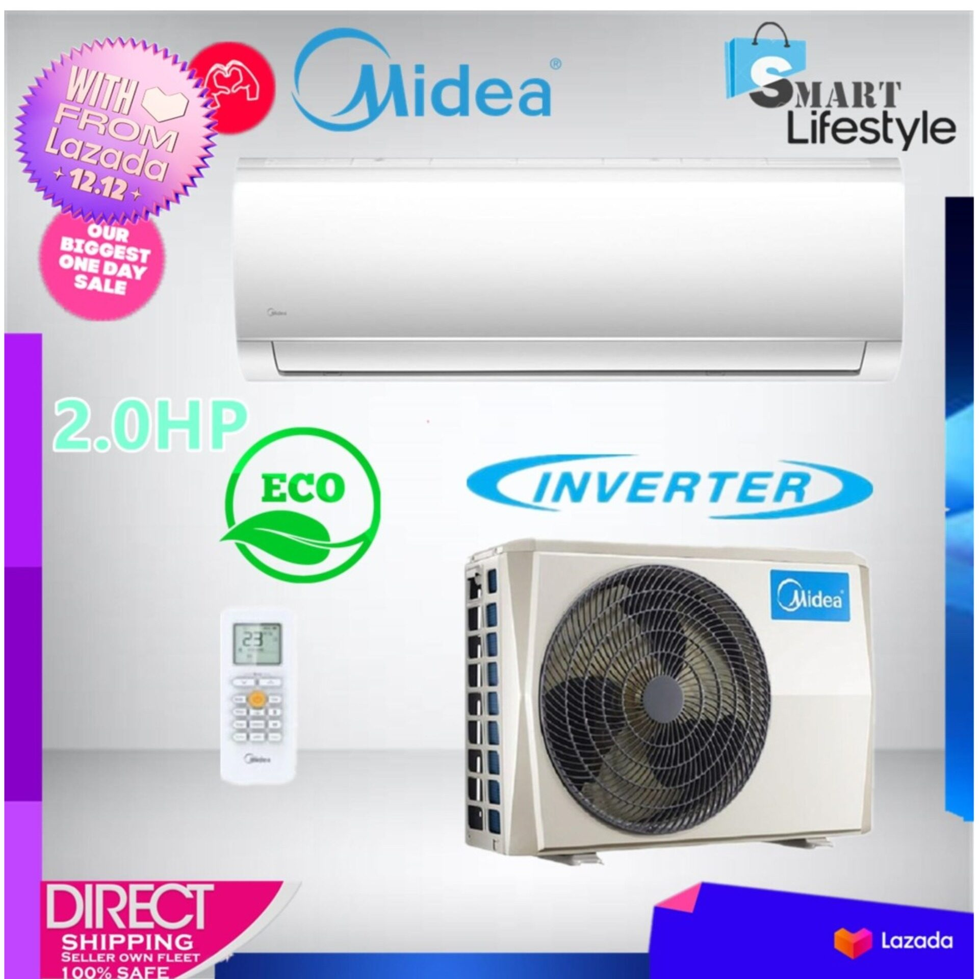 MIDEA 2.0HP Blanc Inverter Series Wall Mounted Air Conditioner MSMA-18CRDN1