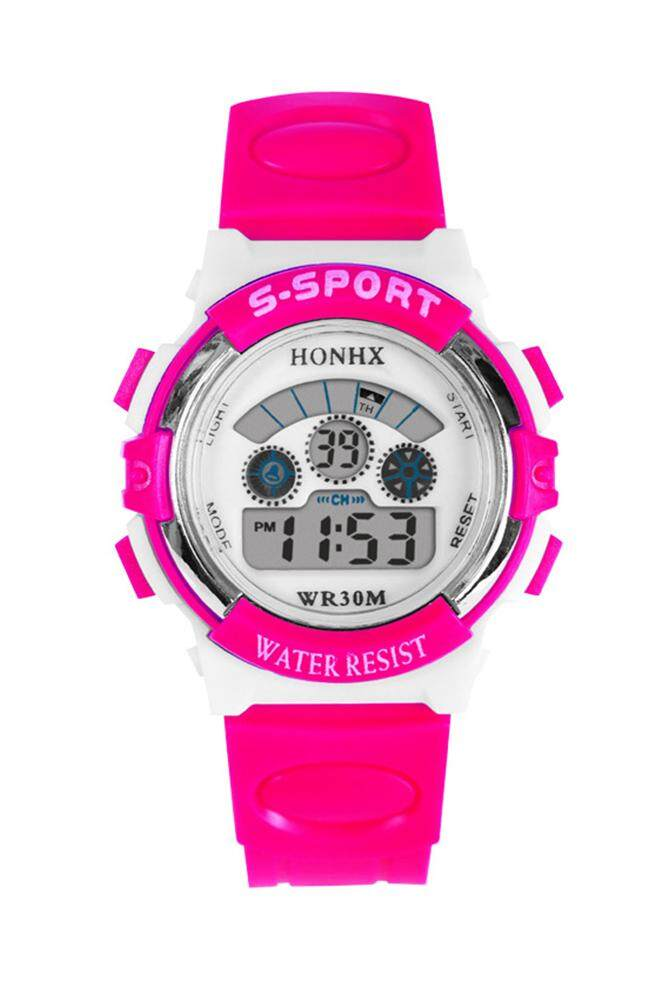 HONHX boys and girls digital watches Rubber multifunction watch Rose red Malaysia