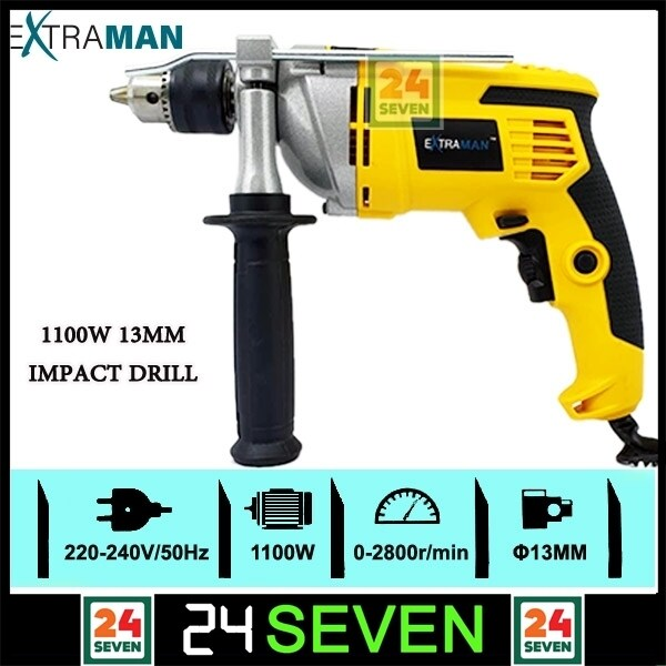 EXTRAMAN 1100W Impact Drill Power Tools 13MM EX-ID1100 (YELLOW) / Heavy Duty 1/2 Pneumatic Air Impact Wrench with 16pcs Accessories Sockets Set Kit / Extraman 1/2 Heavy Duty Electric Impact Wrench 1100W 500N.m FOC 4Pcs Impact Socket