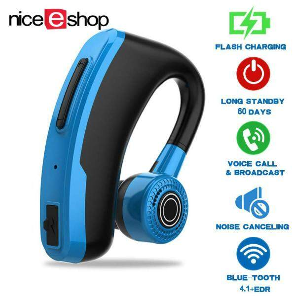 niceEshop V10 Fast Charging Business Bluetooth Headset Car Bluetooth Earpiece Hands Free With Mic Ear-hook Bluetooth Earphone for Phone Singapore