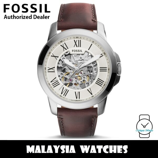 Fossil Mens ME3099 Grant Automatic Leather Watch (Dark Brown) Malaysia
