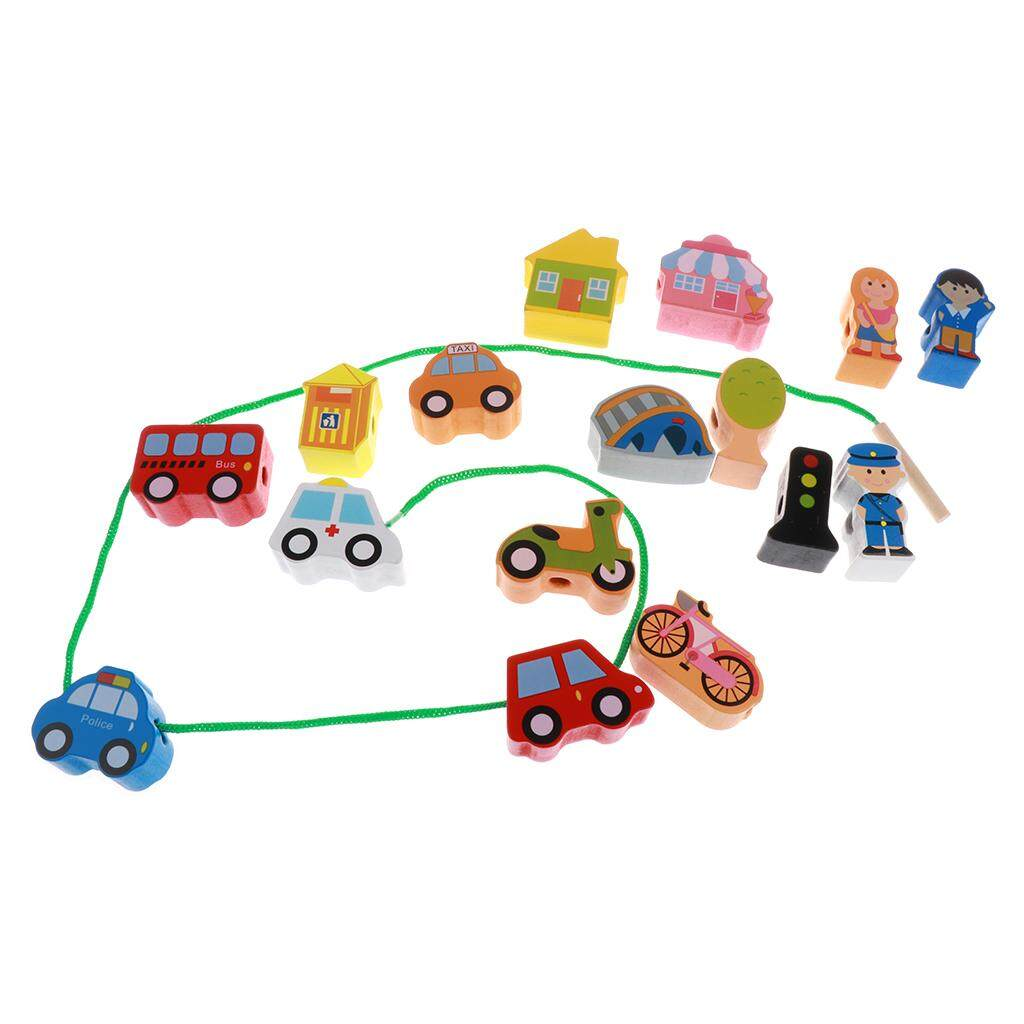 Kesoto Kids Baby Wooden 16pieces Cartoon Threading Beads Lacing Educational Game Toys - City