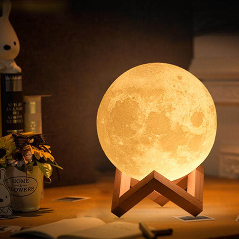 15cm 3d Print Moon Lamp Colorful Change Touch Usb Charging Led Night Light By Gesemedo.