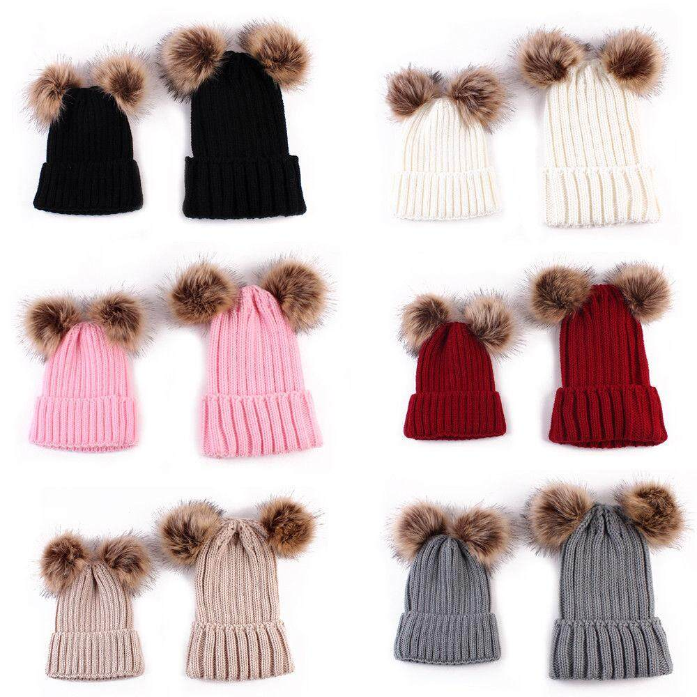 7f6f5e15d46 (For Mother)1PC Mom or Child Kids Baby Warm Bobble Knit Hats Fur Pom