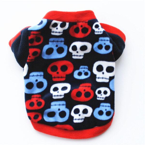 BAIKUAN 2 Màu Halloween Phong Cách Chó Mèo Quần Áo Chó Mèo Áo Nhiều Màu Skull Cotton Ấm Dog Coat Cho Shih Tzu Chow Chow Teddy