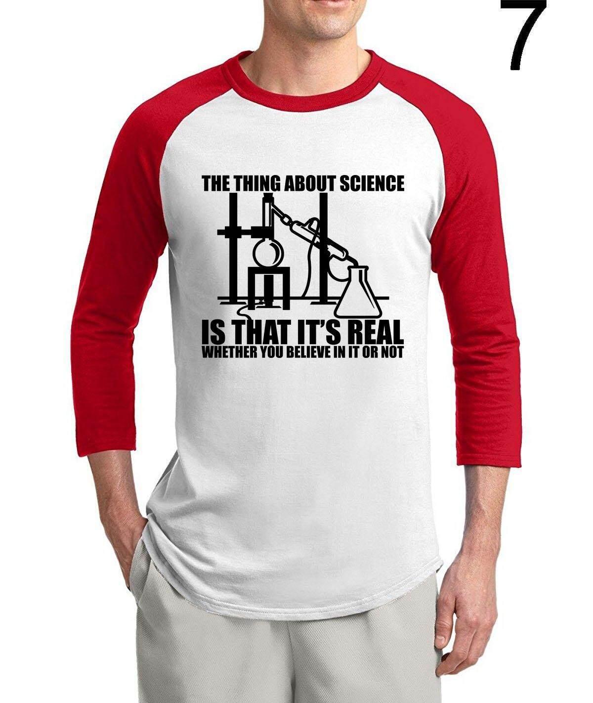 Aosikthis Adalah Ilmu Pengetahuan-REAL Percaya atau Tidak 2019 Musim Panas Penjualan Terlaris 3/4 Lengan Ilmu Kemeja 100% Katun Baru Raglan Pria t-shirt