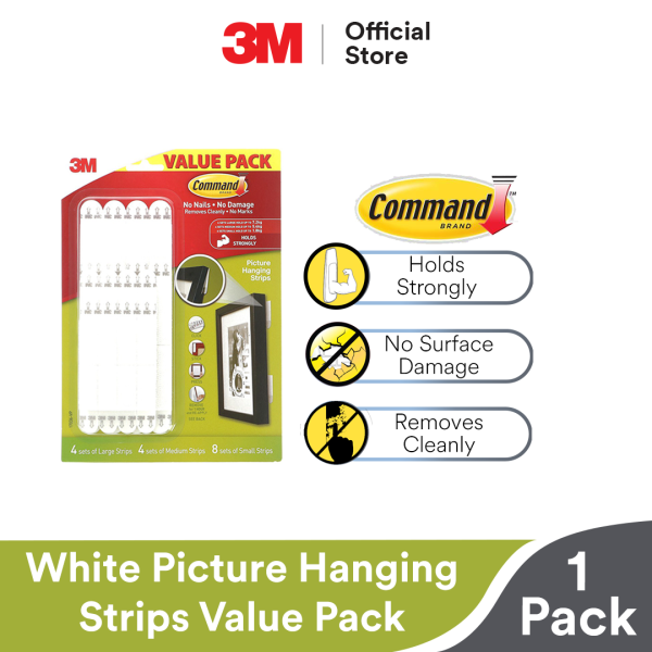 3M Command Wall Adhesive Assortment Picture Hanging Strips - Damage Free Removable Strips [16 sets/pck]