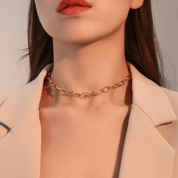 Dây chuyền khoen to thiết kế dạng dây xích mang phong cách năng động trẻ trung dành cho những bạn nữ cá tính 17Mile - INTL