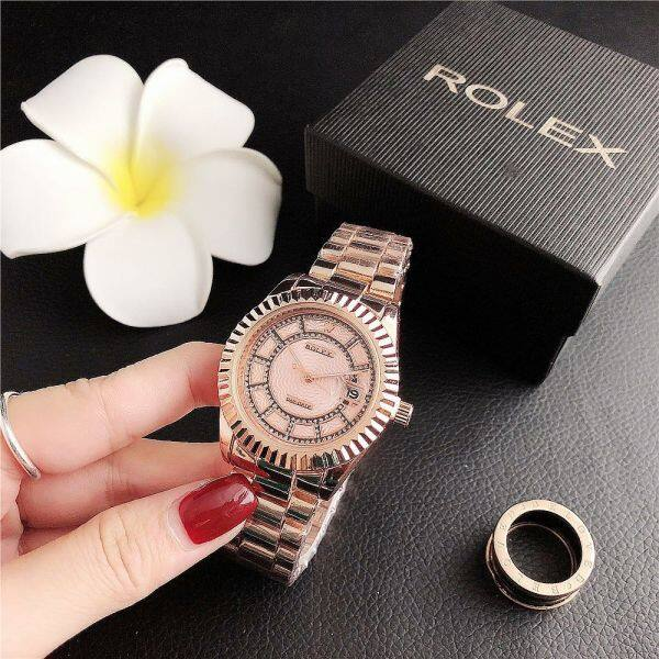 In Stock Original Rolexs Womens Watch Fashion Rose Gold Metal Strap Waterproof 2020 New Malaysia