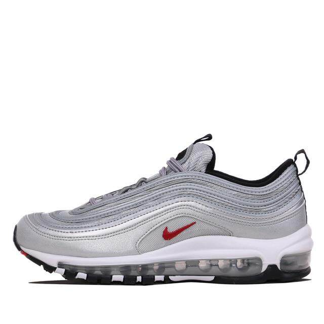 Nike_Air_Max_97 OG QS Men's Breatheable Running Shoes Tamping Gold And Silver Bullet Sneakers #884421-001/700