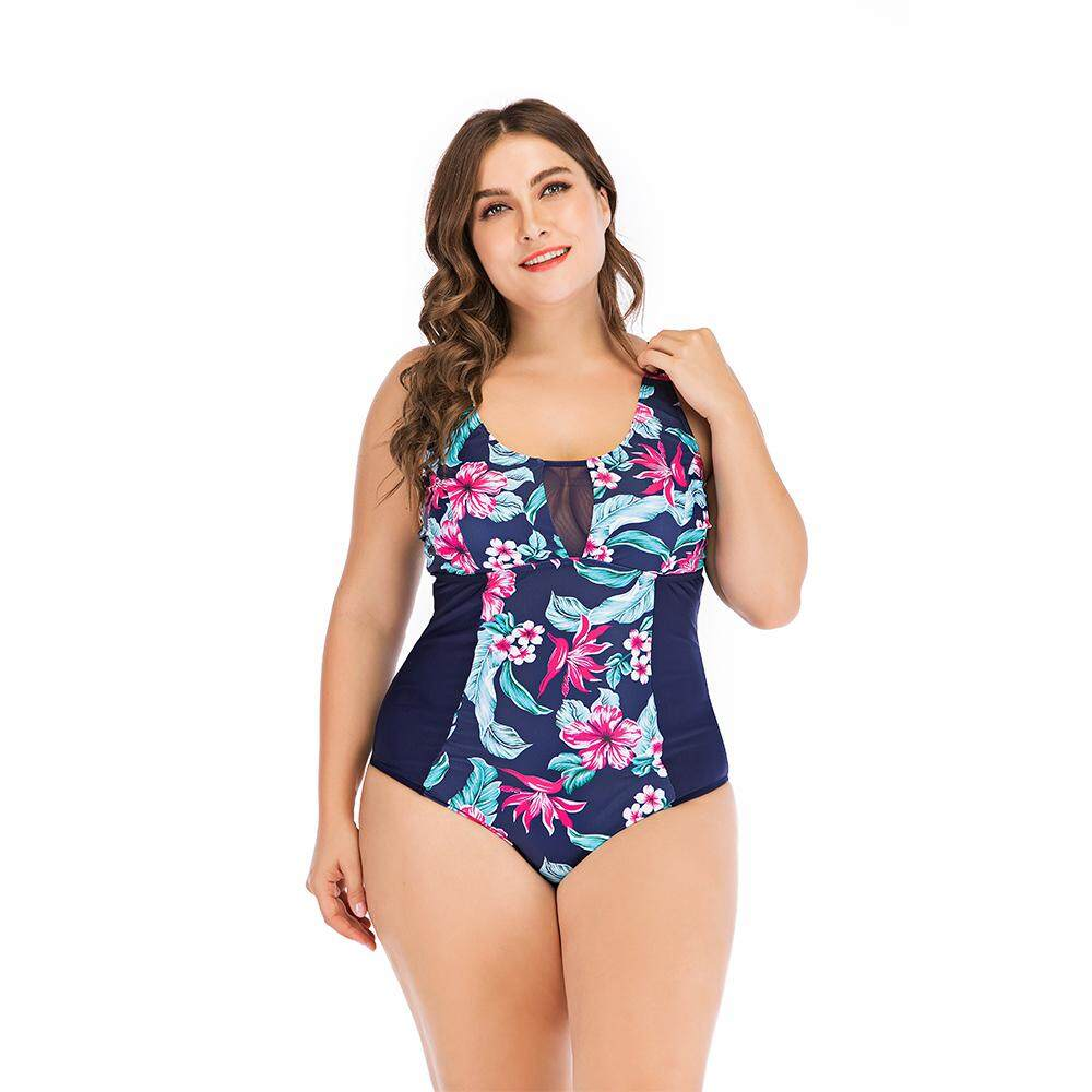 8fa2b7a7276 Summer Plus Size Swimming Suit Print Patchwork One-Piece Bikinis For Women  1956 - Multi