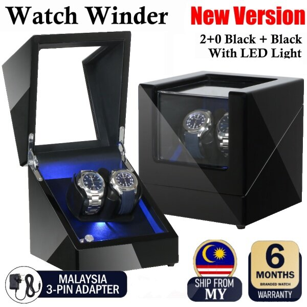 Premium Auto Watch Winder Automatic Rotate Watch Box 2 + 0 Black Black Malaysia
