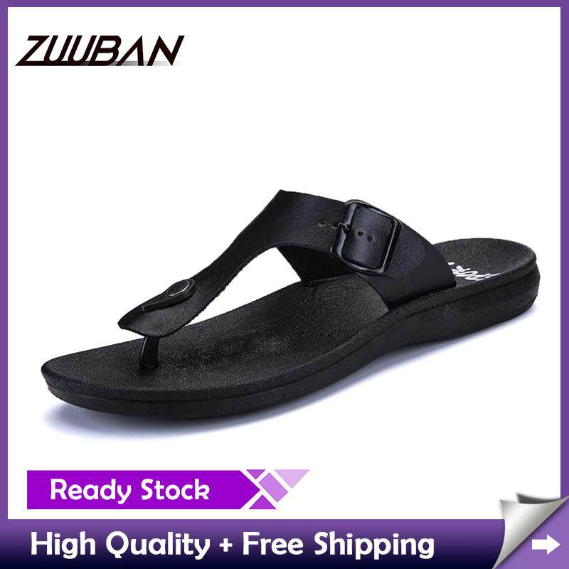 f3b338a77feec China. ZUUBAN Summer Men Flip Flops Male Solid Color Slippers Men Casual  Leather EVA Shoes Non-