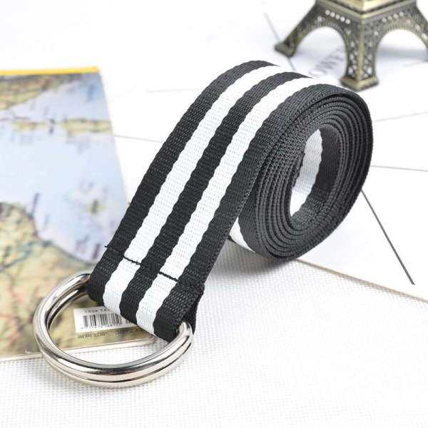 Giá bán New style nylon canvas belt, Korean version of wild double-loop buckle belt for male and female students, factory direct sales belt