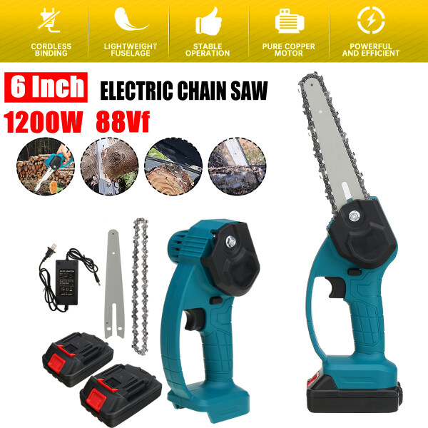 Chain Saw 88V 1200W Electric 6inch Mini One-Hand Cordless Garden Woodworking Pruning Chainsaw + 2 Battery