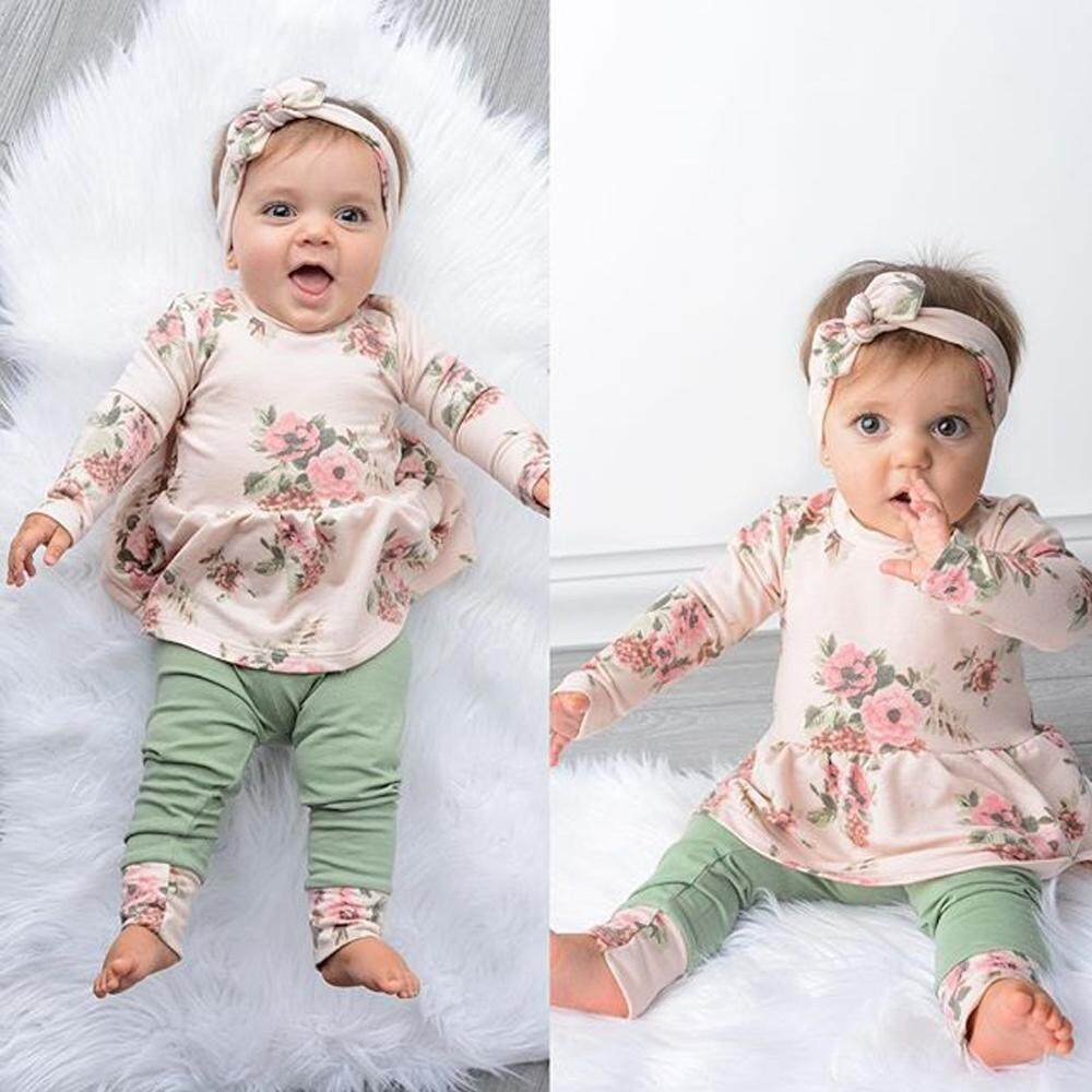 fb0c81570d9 Newborn Kids Baby Girls Lovely Winter Clothes Floral Ruffle Tops Pants 3Pcs  Outfits Set