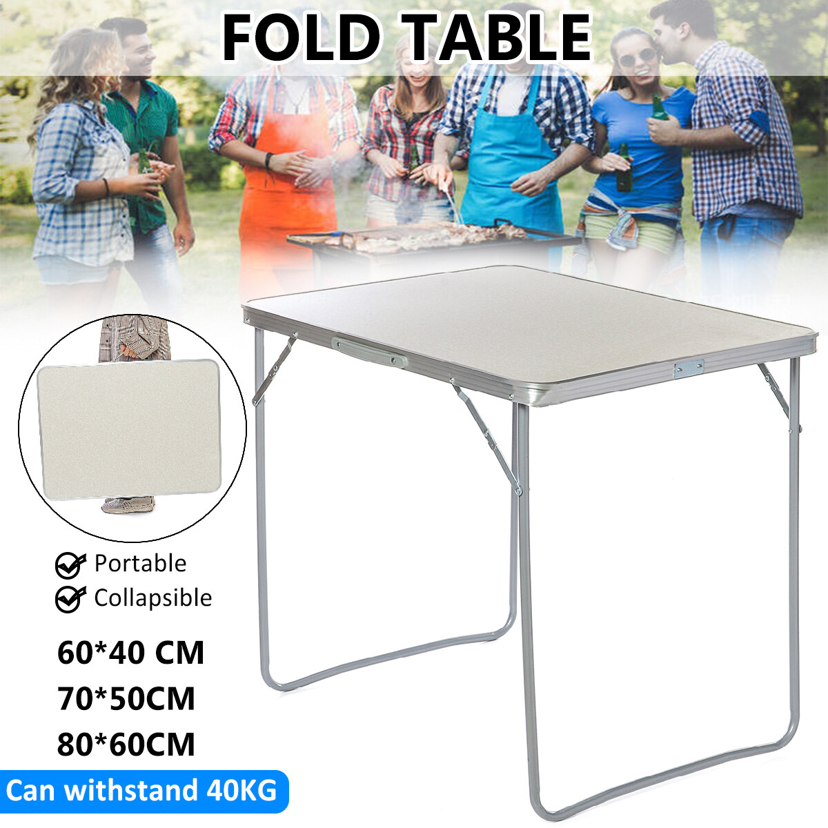 40KG 88LBS Portable Aluminum Alloy Folding Table BBQ Patio Home Party Garden Camping White