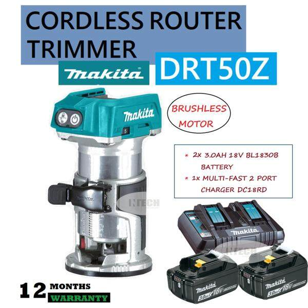 MAKITA DRT50Z CORDLESS ROUTER TRIMMER C/W 2x 3.0AH BATTERY BL1830B & 1x 2PORT MULTI-FAST CHARGER DC18RD