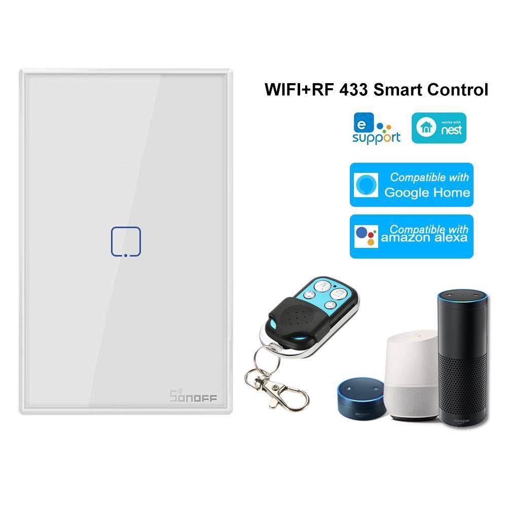 SONOFF T2US3C-TX 3 Gang Công tắc đèn tường thông minh WiFi Gang 433 MHz Điều khiển không dây RF Bộ điều khiển từ xa APP / Hẹn giờ điều khiển cảm ứng Bảng điều khiển tiêu chuẩn Hoa Kỳ Công tắc thông minh Tương thích với Google Home / Nest & A