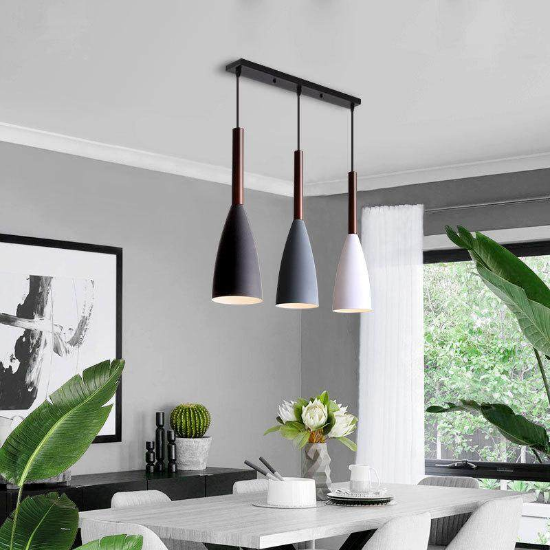 QUKAU modern restaurant pendant light E14 bulb 3 heads Nordic creative three chandelier bedside iron bar lighting
