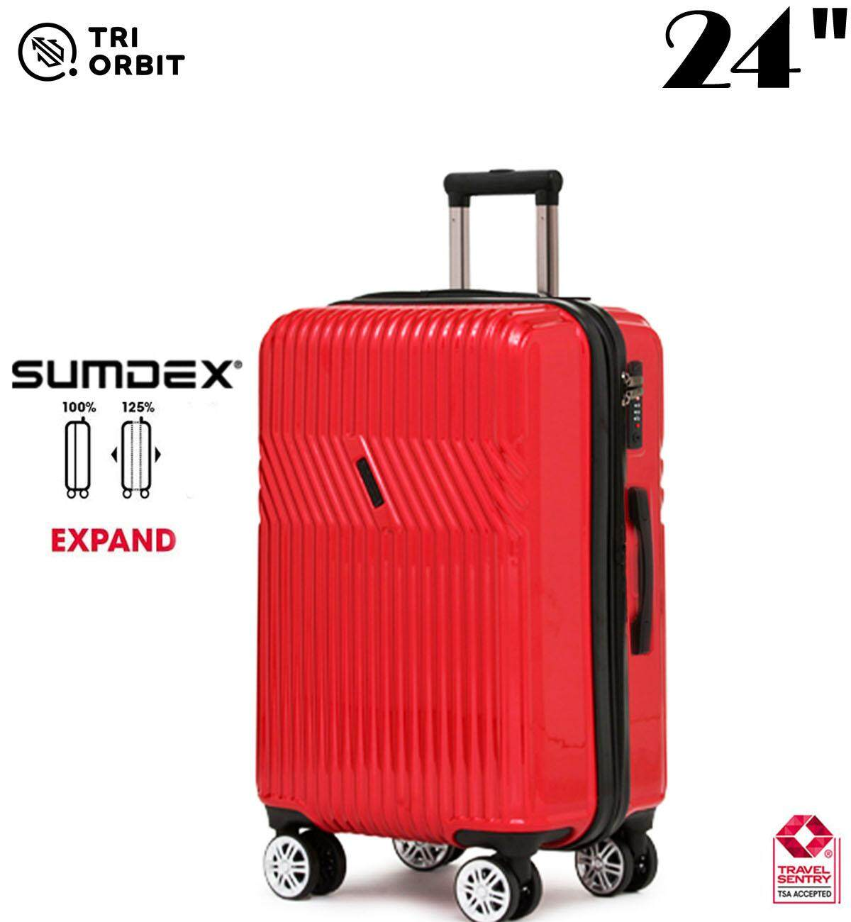 24 inch [ Tri-Orbit ] Korea Brand Expandable +25% Space Glossy Shining Surface with Build in TSA Lock Luggage Bag Bagasi [ Tri-Orbit] [LE0004-24 ]