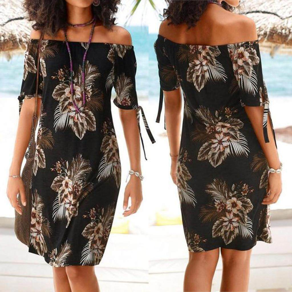 aa242f709c Auburyshop Women Off Shoulder Bohemia Printed Short Sleeve Maxi Party Beach  Dress Sundress