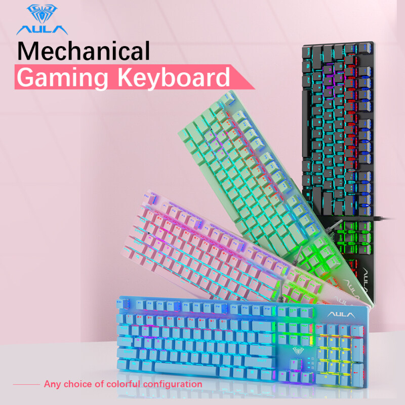 AULA S2022 Mechanical Gaming Keyboard, Marco Programming High and Low Key Layout Metal Panel,26Keys Anti-ghosting Cool Luminous Effect LED Backlit Keyboard for Computer Gamer Singapore