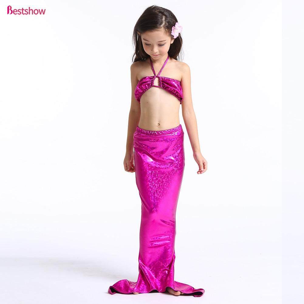Giá bán 3 Cái/bộ Nàng Tiên Cá Đuôi Đầm Trẻ Em Bé Gái Bikini Tắm Bơi Thời Trang Đồ Bơi Áo Phù Hợp Với