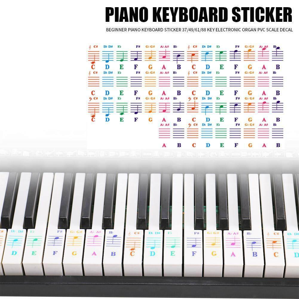 graphic relating to Piano Key Stickers Printable known as Sikiwind Transparan 25/49/61/76/88 Kunci Keyboard Piano Listrik Mencegah Stiker Catatan