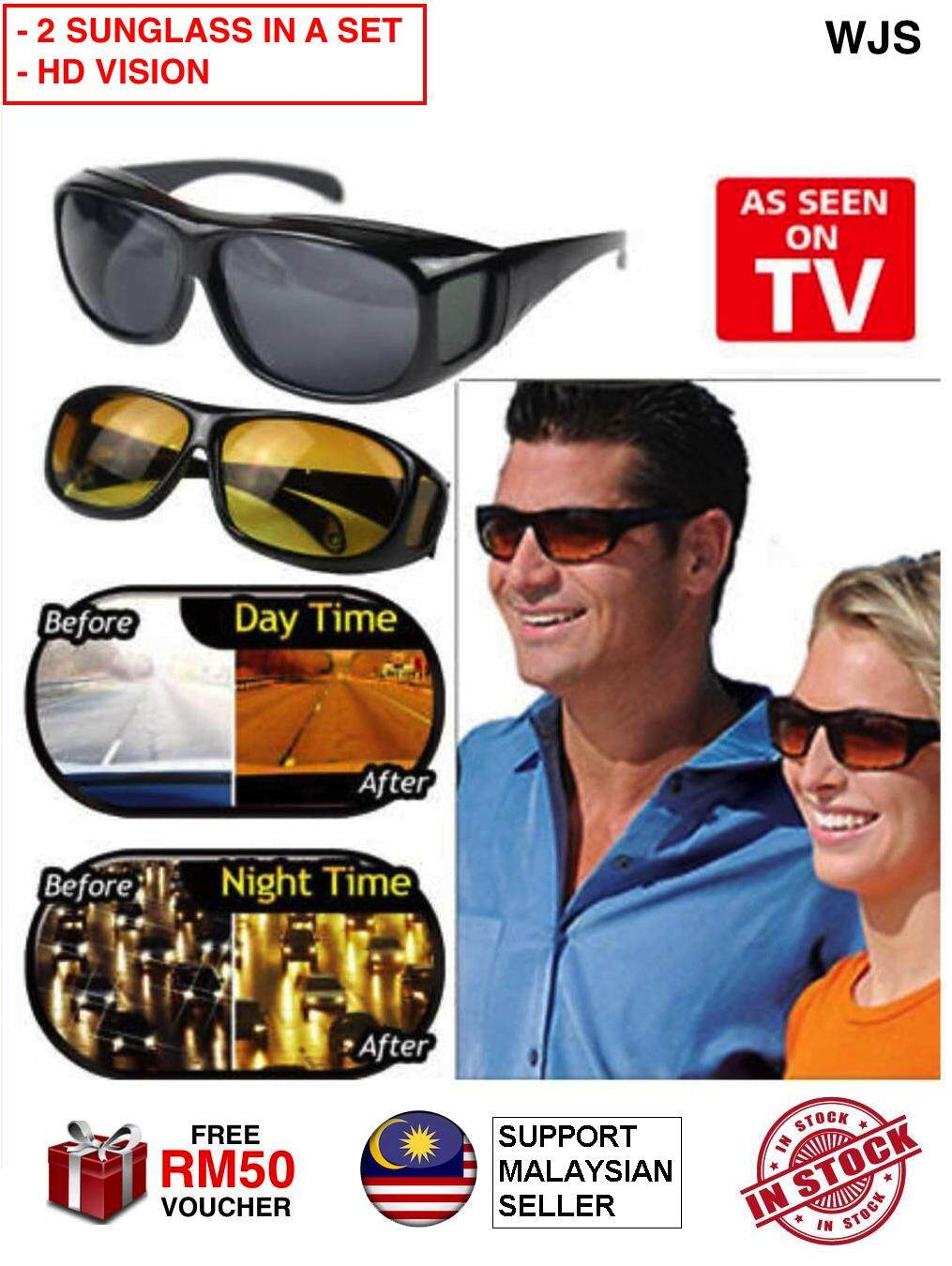 (2 In A Set) Wjs Hd Vision Sunglass Hd Vision Sunglasses Hd Sunglass Senior Sunglass Grandparent Sunglass Driving Sunglass Anti Glare Anti Reflection Wrap Around Sunglasses Spectacle Spectacles Black Brown [free Rm50 Voucher] By Wjs.