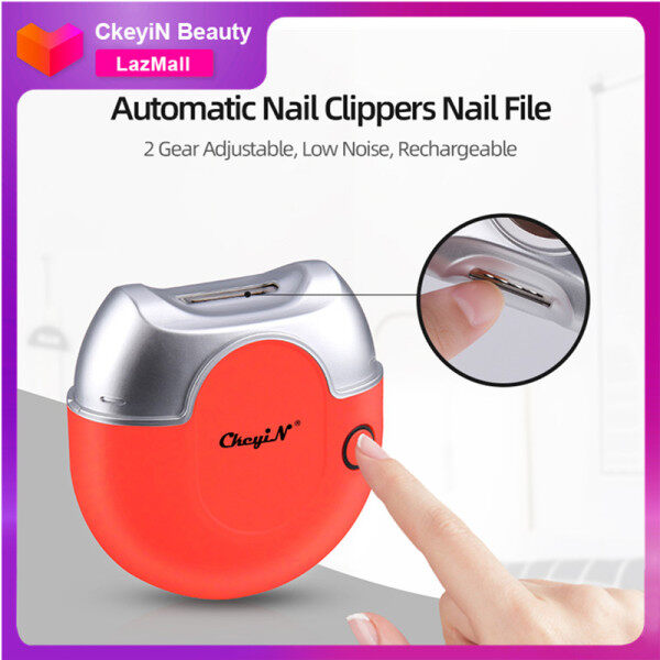 Buy CkeyiN Electric Nail Clippers Automatic Nail Trimmer Nail Cutter Nail File 2 Gear Adjustable Low Noise Nail Manicure Tool USB Rechargeable MJ078 Singapore