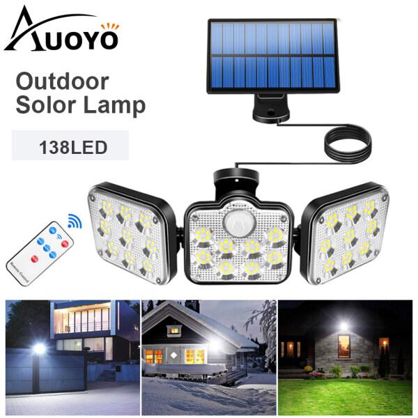 Auoyo 3 Way Đèn pha led Năng Lượng Mặt Trời có remote có cảm biến tự động dây nối Separate Lighting 3 Modes Lamps Spotlight Motion Sensor Lamp