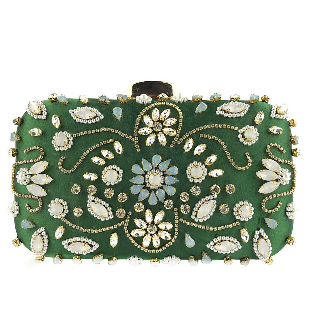Pioneer 2019 Women Flower Crystal Beaded Clutch Evening Chain Crossbody Bags Party HandBag