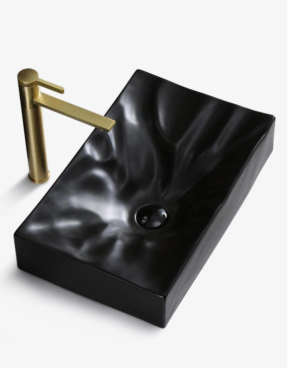 Wash Basin Simple Rectangular Diamond Crystal Creative Washbasin Ceramic Hotel Bathroom Tabletop Art Basin No Accessories Lazada