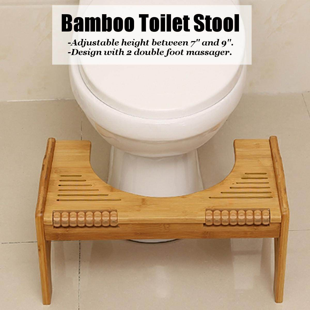 Adjustable Bamboo Toilet Step Squatting Stool For Reduce Constipation By Moonbeam.