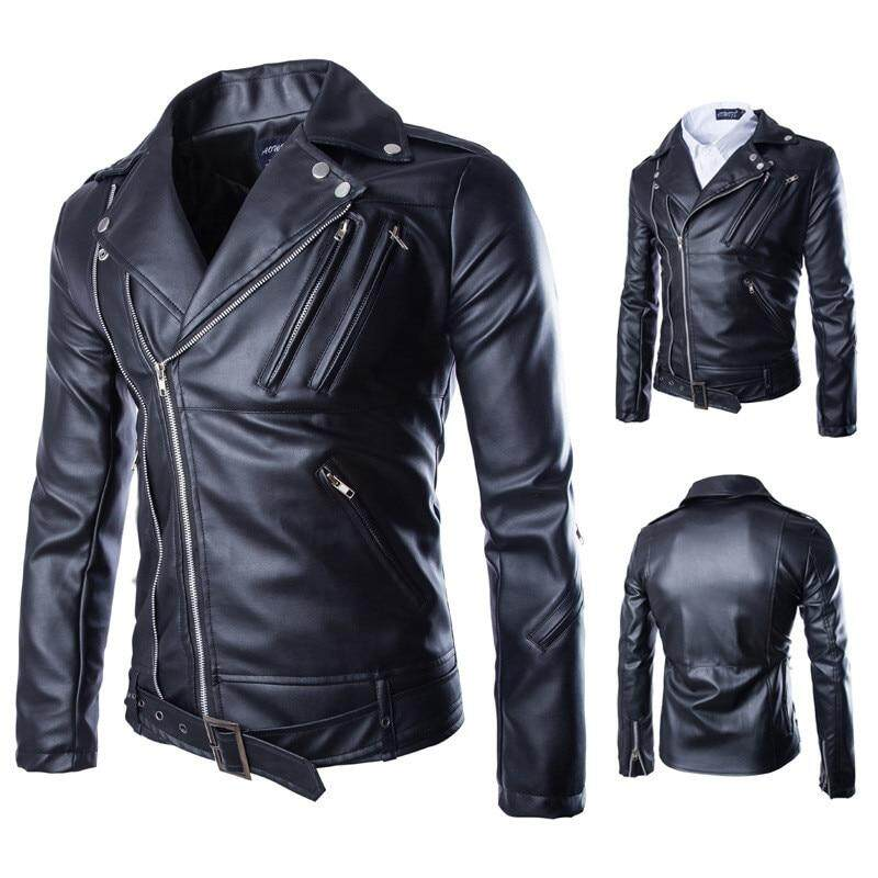 2018 New Personality Dora Design Men's PU leather jacket Korean fashion locomotive lapel black leather Size M 3XL 4XL 5XL-in Faux Leather Coats from Men's Clothing on