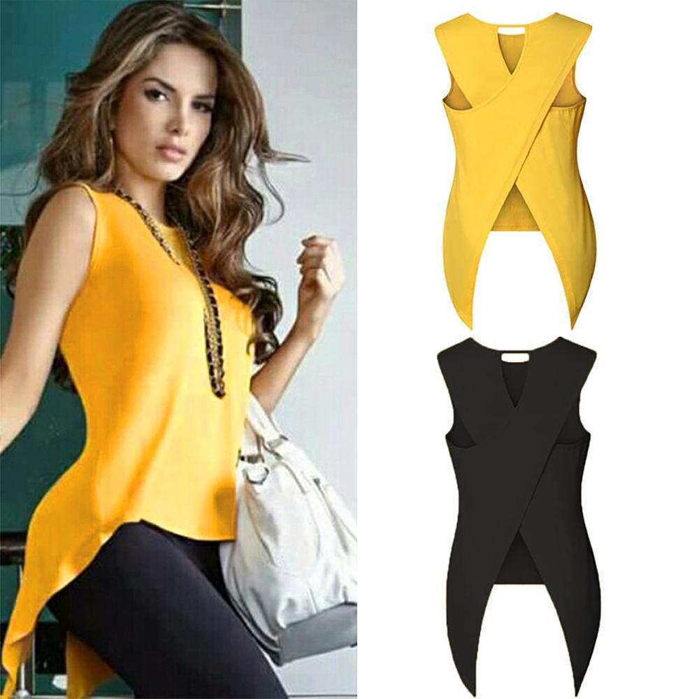 e0efa23047b08b New Fashion Sexy Women Summer Sleeveless Chiffon Back Cross T-Shirt Tops  Basic T Shirt