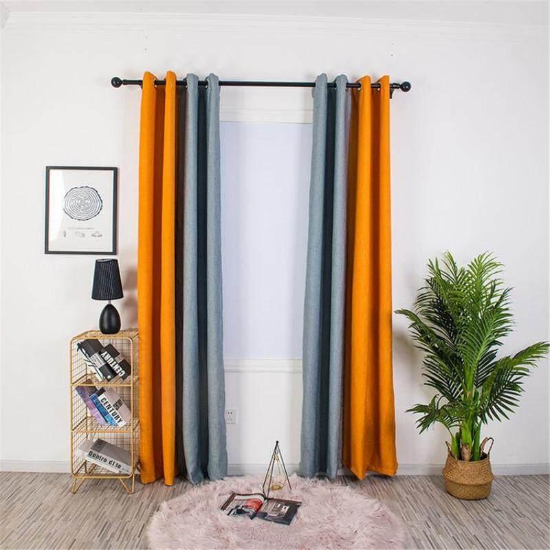 Thời Trang Màn 2 Màu Vải Lanh Màn Cách Nhiệt Polyester Spliced Rèm Cửa Với Grommet Cho Phòng Khách Nhà Bếp Phòng Ngủ