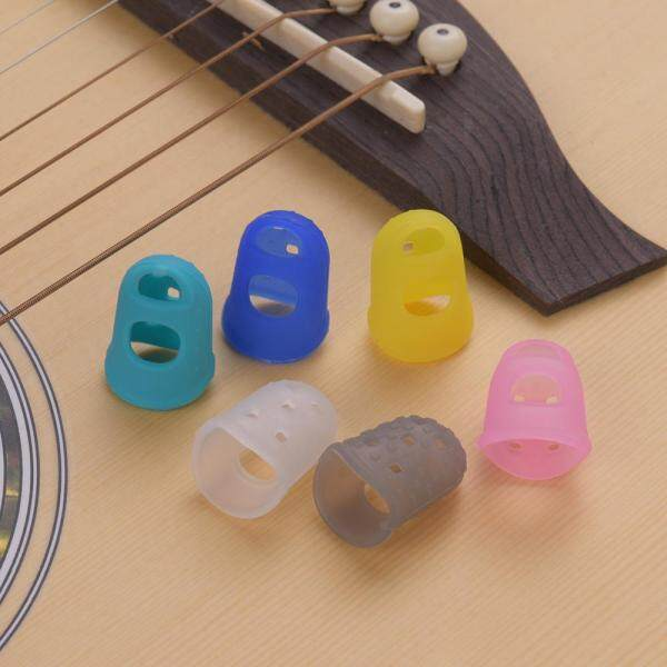 6pcs Guitar Silicone Finger Fingertip Protectors for Guitar Ukulele Beginners (Random Color Delivery) S size(18*14*25mm) Malaysia