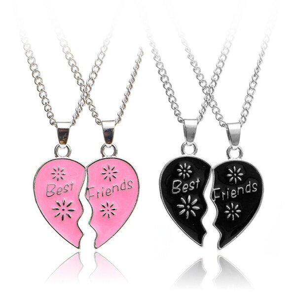 2 Vòng cổ tình bạn ghép thành hình trái tim dành cho nữ, chất liệu hợp kim, phụ kiện làm đẹp, làm quà tặng, giá tốt - INTL
