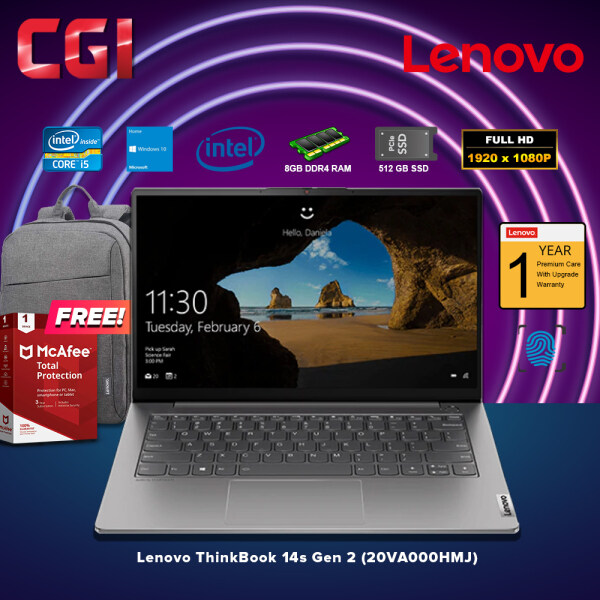 Lenovo Laptop ThinkBook 14s Gen 2 (20VA000HMJ) Intel Core i5-1135G7 (Mineral Grey) Win10Home 8GB RAM 512GB SSD Integrated Intel Iris Xe Malaysia