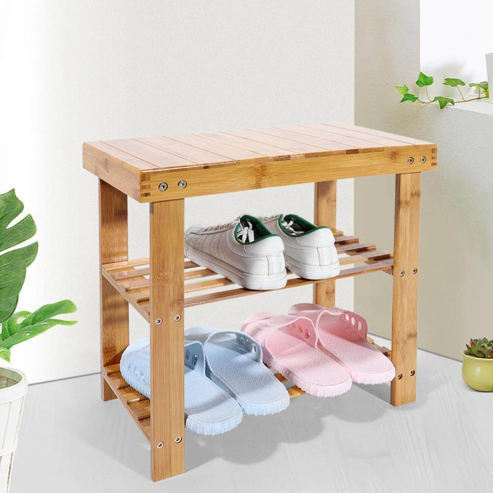Sunflower Multi-Tier Natural Bamboo Shoe Rack Stool Shoe Shelf Entryway Storage Organizer with Seat